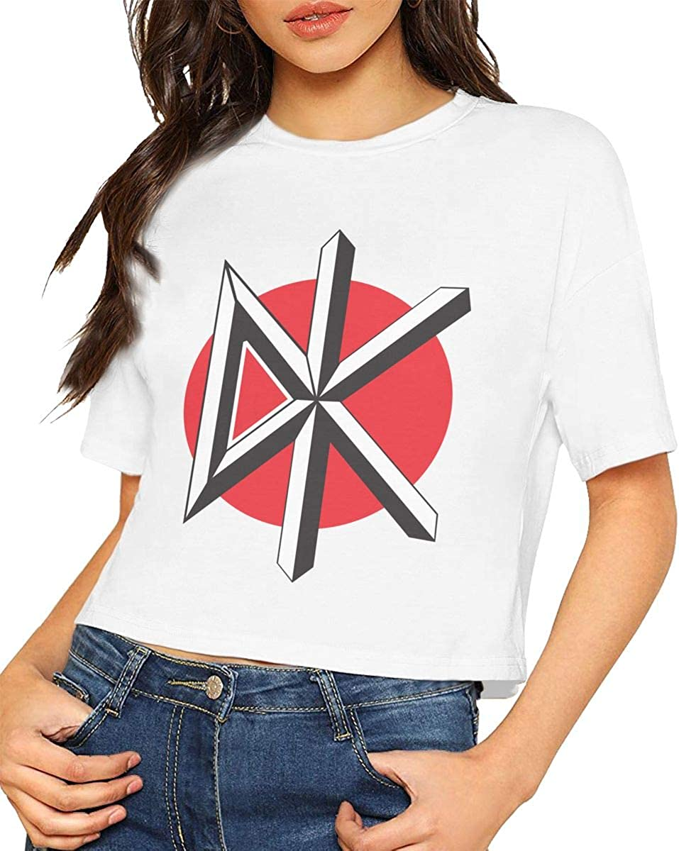 Chouven Women Crop Tops Dead Kennedys Brick Logo Round Neck Short Sleeve T Shirts