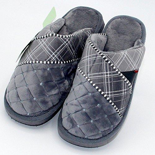 CWAIXXZZ pantoufles en peluche Home hiver chaud épais Chaussons en coton ,45-46 adapté à 41-42 mètres pied gris, 8