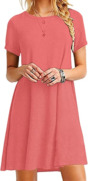Omzin Damen Lose Tunika T Shirt Kleid Sommer Kurze Armel Rundhals Casual Mini Kleid Koralle Xl Amazon De Bekleidung