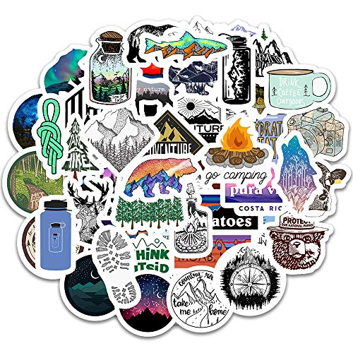 Cute Adventure Sports Stickers for Hydro Flash Water Bottle[50pcs] Positive Puravide Travel Outdoor Explore Hiking Camping Climbing Diving Gliding Riding Cycling, for Laptop Computer Bike Car Luggage