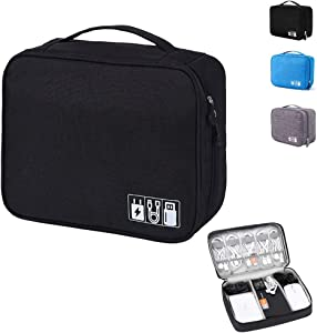 Emoly Electronic Organizer Travel, Universal Waterproof Carrying Case Cable Organizer Electronics Accessories Cases for USB Cables, Charger, Power Bank, Phone, E-Book Kindle, iPad or Tablet (Black)