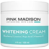 Pink Madison Skin Lightening Cream with Kojic Acid Vitamin C Hyaluronic Acid. Natural Brightening Lotion for Melasma, Hyperpigmentation and Dark Skin Age Spots