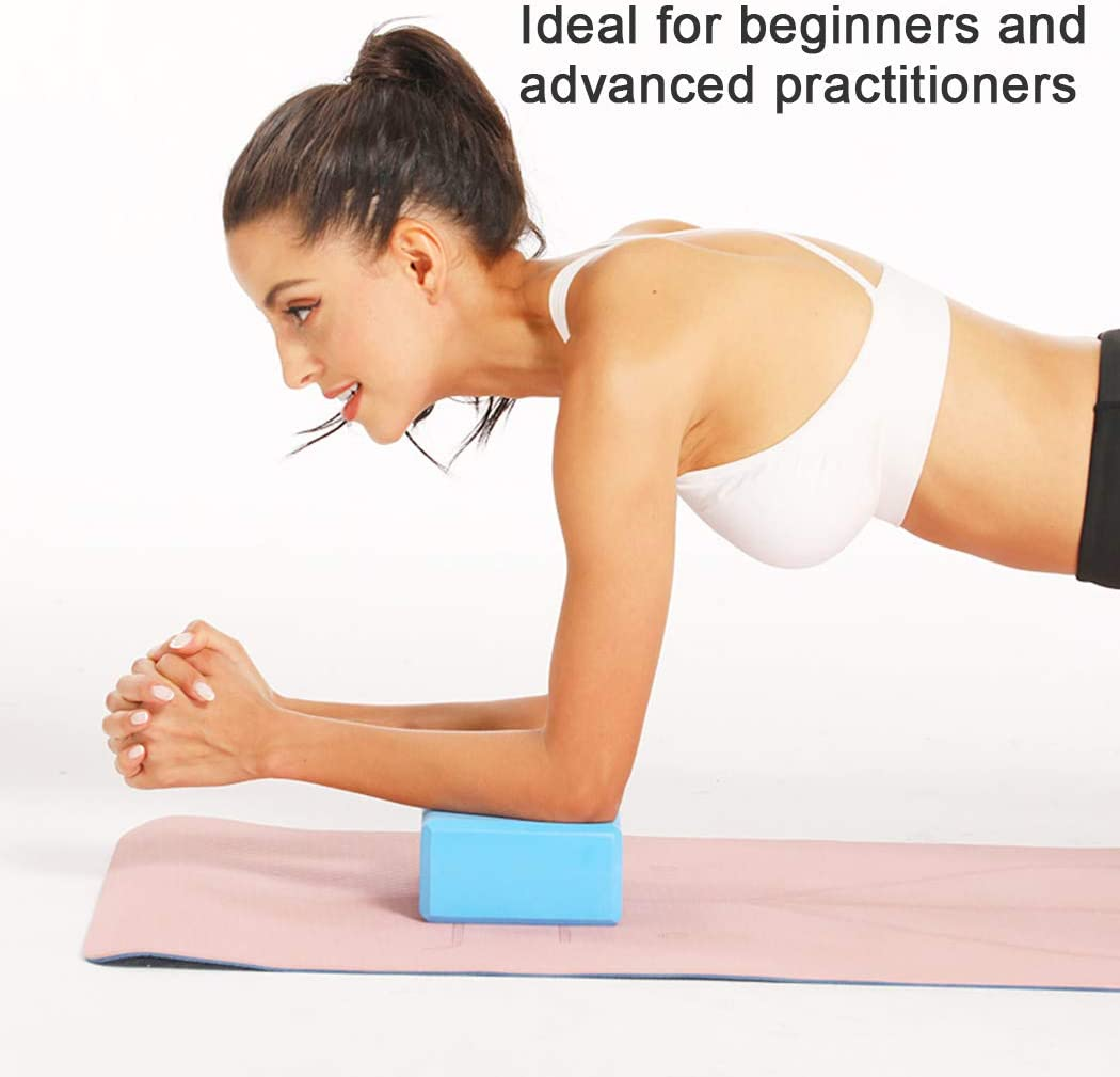 High Density EVA Foam Block to Support and Improve Poses and Flexibility 2 Pack BIPASION Yoga Block and Yoga Strap Set