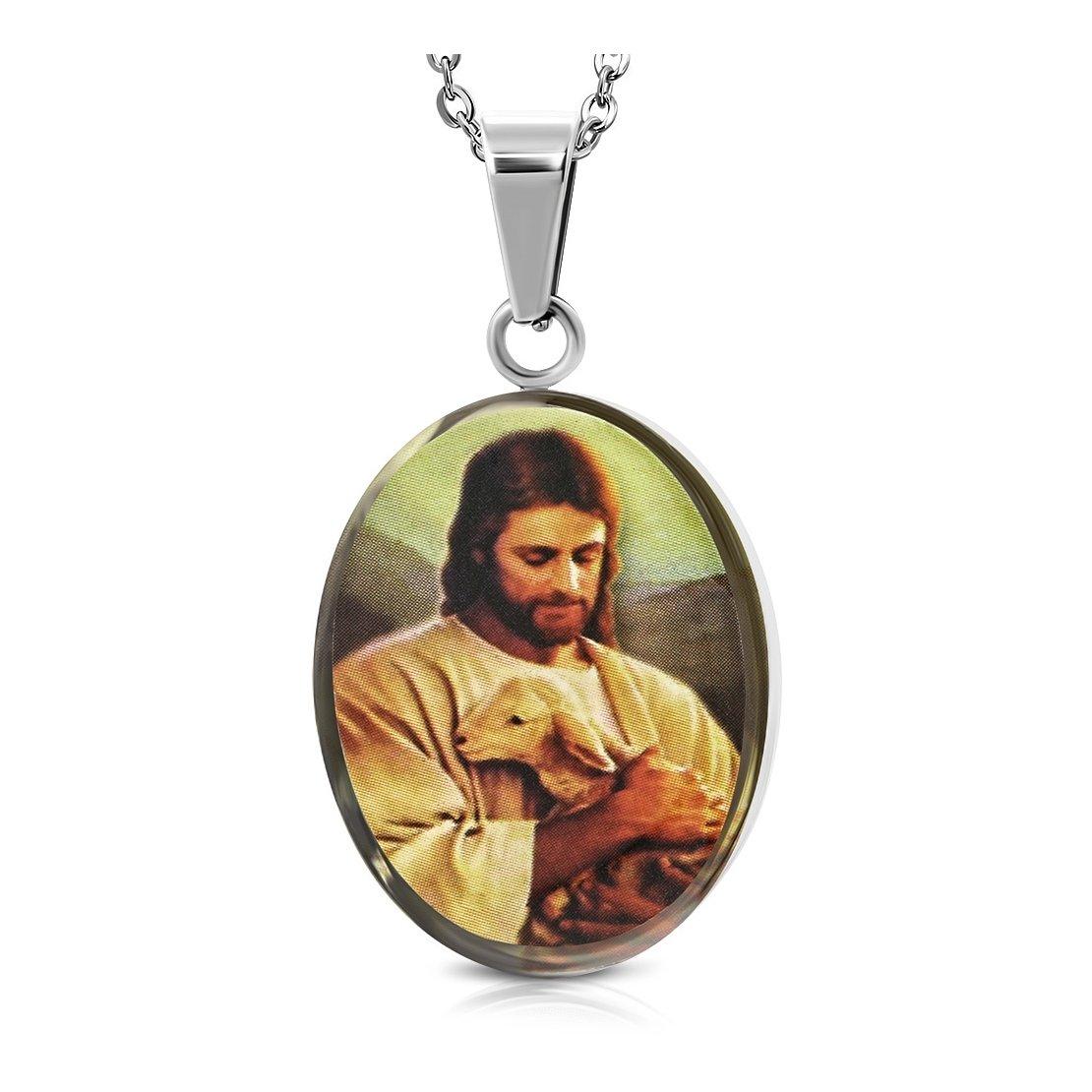 Acier inoxydable Berger Jésus Agneau de dieu ovale Christian Pendentif religieux NRG 316L Jewelry 205-JLJ097