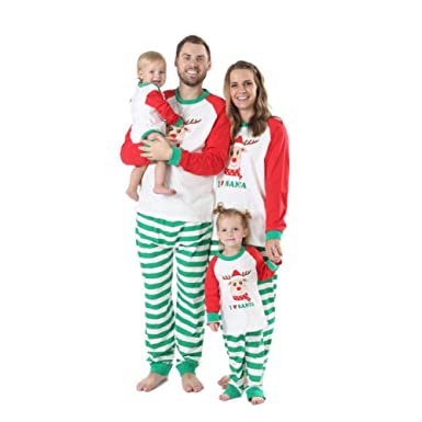 BOBORA Christmas Pyjamas Family Cotton Sleepwear Set Merry Christmas Santa  Prints Top with Checkered Striped Bottoms Pjs Set for Daddy Mommy and Me  (2PCs)  ... 99570adbe