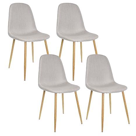 Sedie Stile Scandinavo.Zons Set Di 4 Sedie Dal Design Scandinavo Stile Nordico Gambe In Metallo Color Legno Naturale E Seduta In Tessuto 45 X 40 X 90 Cm Beige