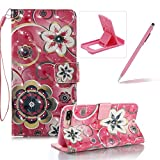 Strap Leather Case for iPhone 7 Plus,Wallet Stand Flip Case for iPhone 8 Plus,Herzzer Bookstyle Stylish Pretty 3D Crystal Flower Pattern Magnetic PU Leather with Soft Silicone Inner Back Case for iPhone 7 Plus/iPhone 8 Plus 5.5 inch