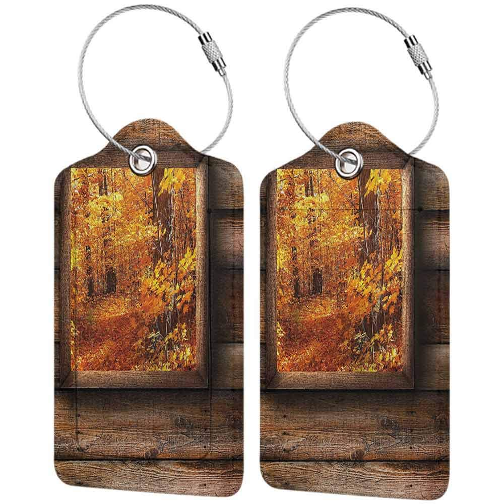 Waterproof luggage tag Fall Decorations Fall Foliage View from Square Shaped Wooden Window inside Cottage Photo Soft to the touch Orange Brown W2.7 x L4.6