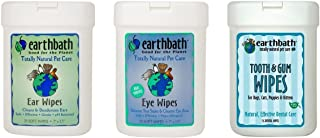 product image for Earthbath Dog Cat Grooming Care Bundle - (1) Each: Ear Wipes, Eye Wipes, Dental Tooth Gum Wipes, 25 Count