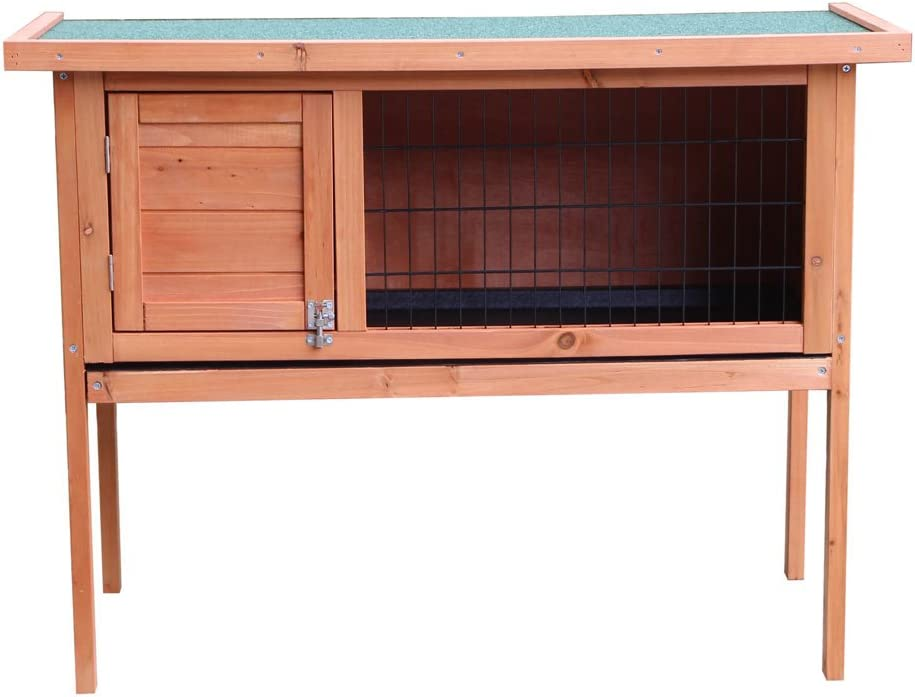 Kuyal Single Deck Waterproof Wooden Indoor Outdoor Cat Shelter Rabbit House Deluxe Pet Home Wood Color Type 2