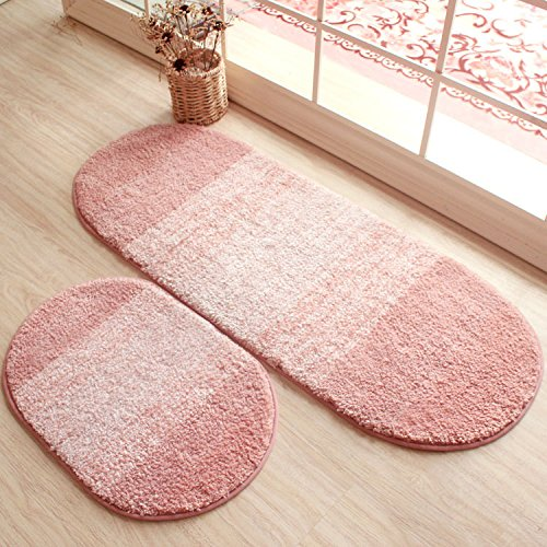 HOMIGOO Oval Shaped Rug Pink Mat For Kids Room Shaggy And Soft Rugs For Bedroom/Bathroom Non-Silp Entrance Doormat by HOMIGOO