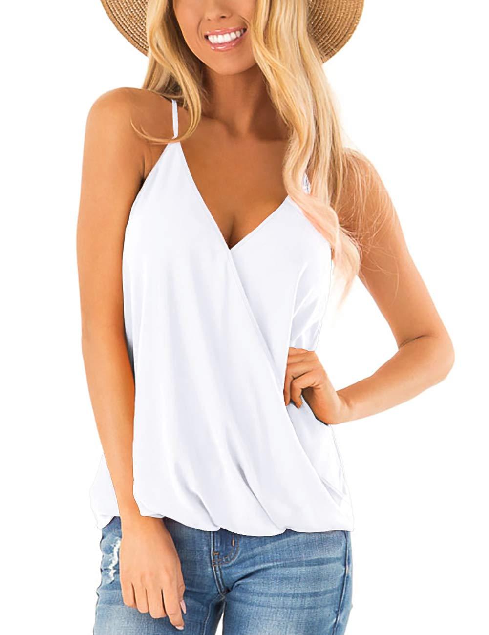 Aokosor Womens Deep V Neck Wrap Spaghetti Strap Tank Tops Summer Sleeveless Shirts Blouses
