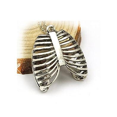 Human Ribcage Anatomy Necklace Silver Tone Chest Bones Skeleton ...