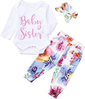 Jimmackey Bambina 3pcs Neonata Completini, Manica Lunga Lettera Pagliaccetto Tutine Body + Pantaloni Floreali + Fascia