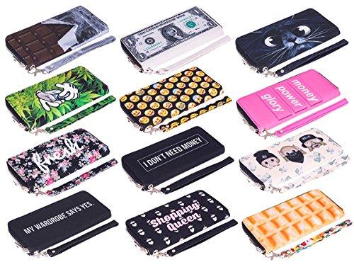 Portafoglio moda per Holder Uomo Donna Cash cerniera carta della borsa Emoticon Black [050]