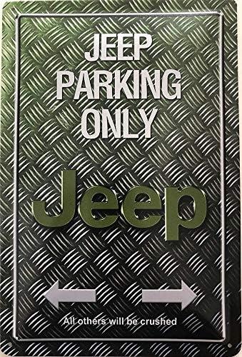 Deko 7 Tin Sign 30 x 20 cm Jeep Parking Only Motorbike//Car
