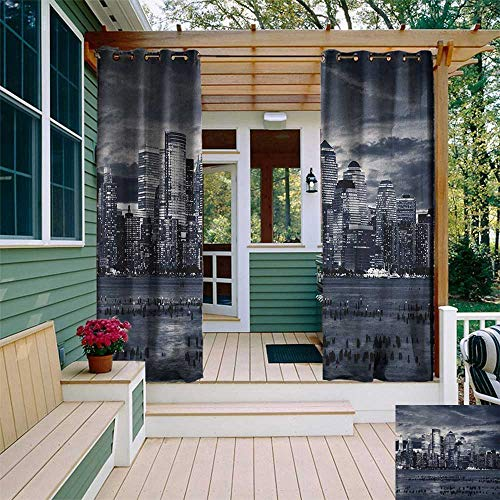 - leinuoyi City, Sun Zero Outdoor Curtains, Dramatic View of New York Skyline from Jersey Side Clouds Buildings, Outdoor Privacy Porch Curtains W96 x L96 Inch Charcoal Grey Black White