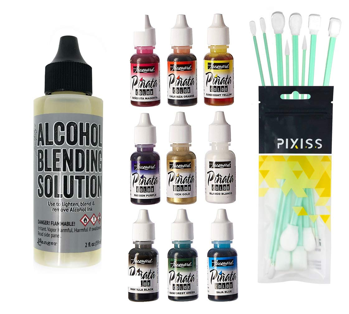 Jacquard Products JAC9916 Pinata Color Exciter Ink Pack, 8X Pixiss Ink Blending Tools Bundle, 2-Ounce Ranger Adirondack Alcohol Blending Solution by Bundled Brands