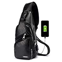 Groupon.com deals on Mens Leather Shoulder Pack Sling Crossbody Chest Bag