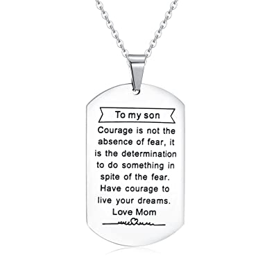 Jureeone Inspirational Gifts Jewelry Stainless Steel Pendant Necklace Letter Tag Birthday From Mom For Son