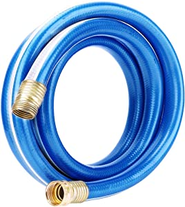 Solution4Patio Expert in Garden Creation #G-H164A16-US 3/4 in x 15 ft Blue Short Garden Hose Male/Female Solid Brass Fittings for Hose Reel, Water Softener, Dehumidifier, RV 8 Years Warranty