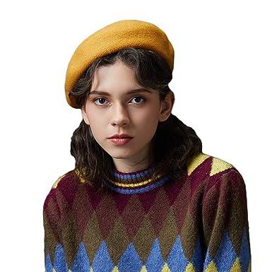 887490bd1690e Baijiaye Mujeres Clásico Boinas Artista Boina Vasca Bombrero Vintage  Sombreros de Mujer para Fiestas Invierno Otoño Primavera Amarillo   Amazon.es  Ropa y ...