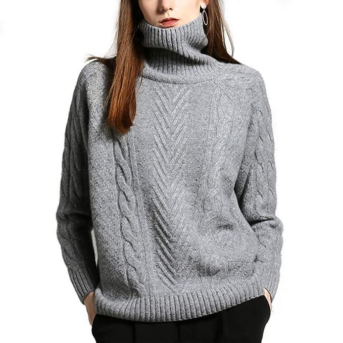 Haxibkena Suéter de Cuello Alto con Cachemir para Mujer 8e405e42094a