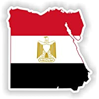 egypt Country Flag Map Car Bumper Window Mirror Sticker Decal, Size 13x13cm