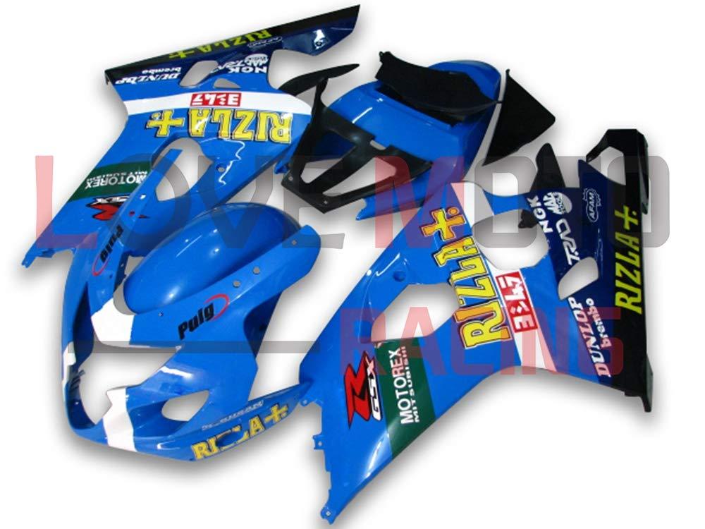 LoveMoto ブルー/イエローフェアリング スズキ suzuki GSX-R600 GSX-R750 K4 2004 2005 04 05 GSXR 600 750 ABS射出成型プラスチックオートバイフェアリングセットのキット ブルー ブラック   B07KF7TPYY
