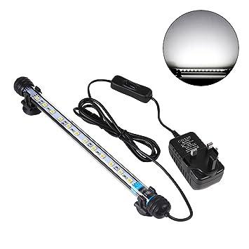 UEETEK 28CM LED Fisch Behälter Lichter Aquarium Beleuchtung 5050 SMD RGB heller Stab Unterwasser tauchfähige wasserdichte Klipp Lampe - Weiß ...