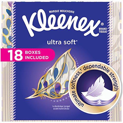 Kleenex Ultra Soft Facial Tissues; 75 Tissues per Cube Box; 18 Count