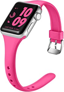 Laffav Compatible with Apple Watch Band 38mm 40mm, Soft Silicone Sport Bracelet Wristbands for iWatch Apple Watch SE & Series 6 & Series 5 4 3 2 1, Rose Pink, S/M