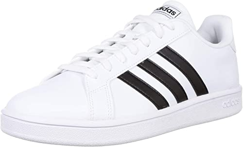 Adidas Tenis Grand Court Base EE7968 para Mujer, Color Blanco/Franjas  Negras.