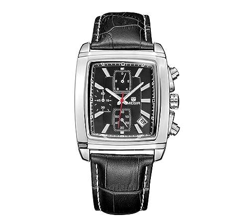 North King Reloj de Cuarzo Relojes Fecha Pantalla Hombres Rectangular con Cuero Classic Relojes Buenos Banda