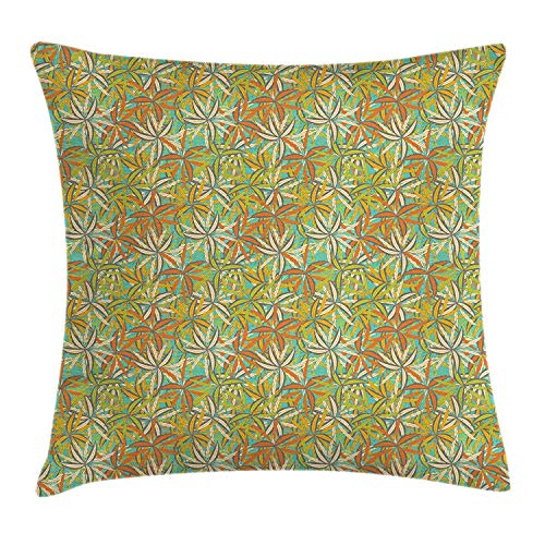 GOEUME Tropical Throw Pillow Cushion Cover, Exotic Arrangement Colorful Leaves Floral Composition of Hawaii Ornamental Design, Decorative Square Accent Pillow Case, 18 X 18 Inches, Multicolor