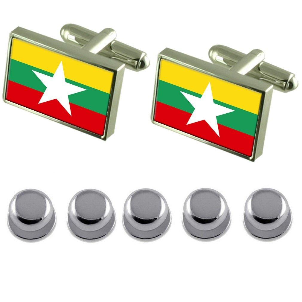 Select Gifts Shirt Dress Studs Myanmar Flag Cufflinks