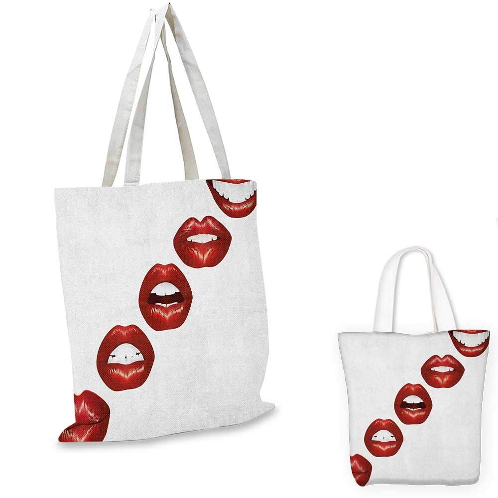 16x18-13 Kiss canvas messenger bag Print of Lips Kiss Mark on White Background Seductive Trace with Grunge Display canvas beach bag Vermilion White
