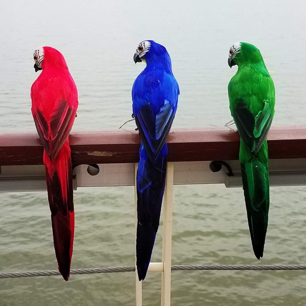 F BAOIWEI Colorful Fake Parrots Artificial Birds Model Outdoor Home Garden Lawn Tree Decor,Nature Lovers Tropical Bird Collectors