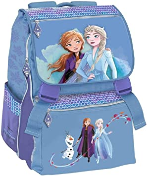 Mochila escolar Frozen II Elsa Anna From The Movie extensible + estuche de 3 pisos completo + llavero Girabrilla + 10 bolígrafos con purpurina + marcapáginas: Amazon.es: Equipaje