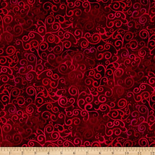 Fabric & Fabric 0472476 QT 108in Wide Quilt Back Ombre Scroll Ruby Fabric by The Yard ()