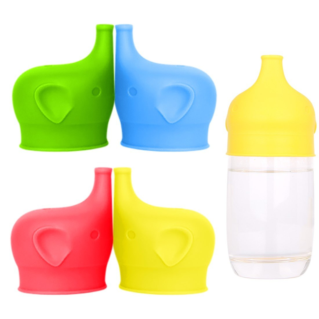 Baby Quick Cocinero Silicone Sippy Cup Lids for Toddlers Infants Babies Kids, Reusable, Spill-proof, Durable Stretches to Cover Tumblers, Mugs, Glass, Pack of 4 Blue Green Red Yellow, FDA Approved