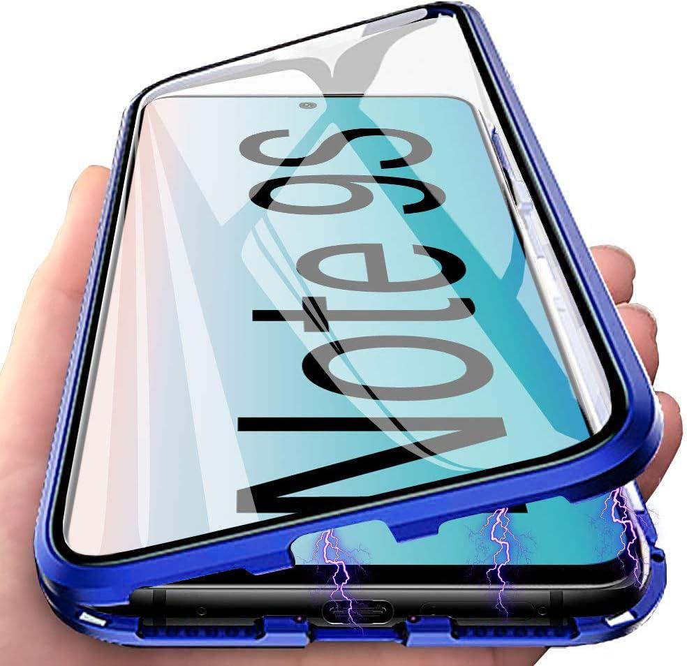 Negro Funda para Xiaomi Redmi Note 9S Adsorci/ón Magn/ética Carcasa 360 Grados Protecci/ón Caso Anti Choque Metal Flip Cover E-Lush Funda Transparente Vidrio Templado Case Cover