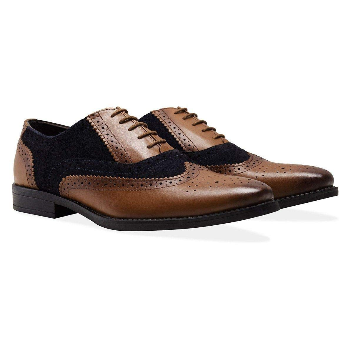 TALLA EUR 40-41. Redfoot Mens Navy & Brown Oxford Brogue Shoe