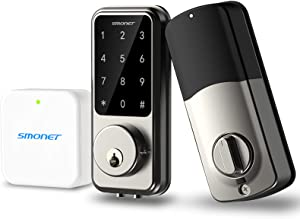 Smart Deadbolt Lock - SMONET Electronic Keypad Lock with Hub 2020 Bluetooth WiFi Touchscreen Smart Lock Front Door Keyless Entry Door Lock Home Gate Smart Lock Work with Alexa for Home Security