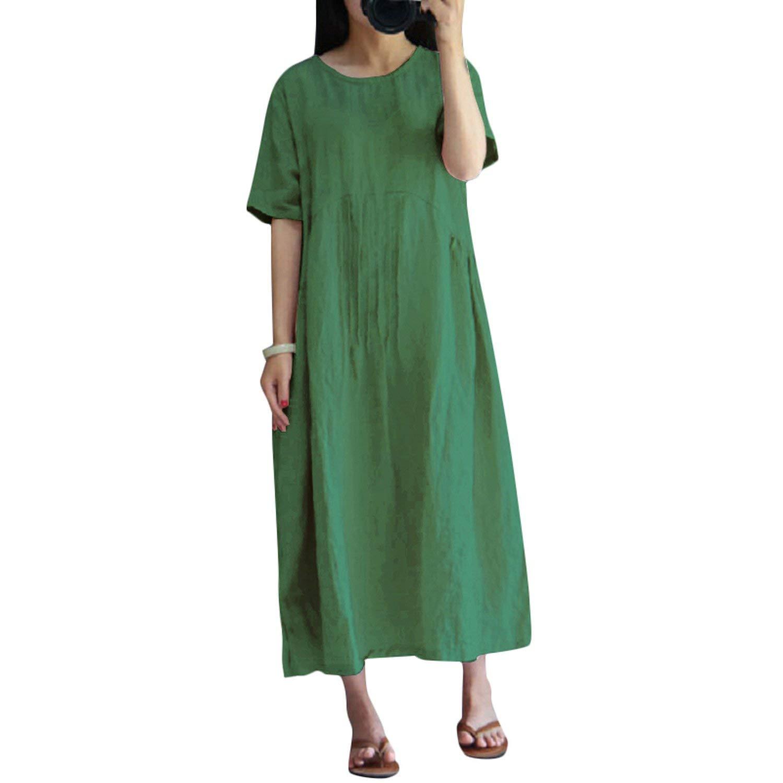 Green White Island Sexy Women Summer Dress Vintage Short Sleeve Casual Loose Dresses Robe Femme Cotton Long Plus Size Dress