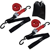 Amazon Basics Tiedown Set with Integrated Soft Loops, 2,110lb Break Strength, Red & Black, 2-Pack