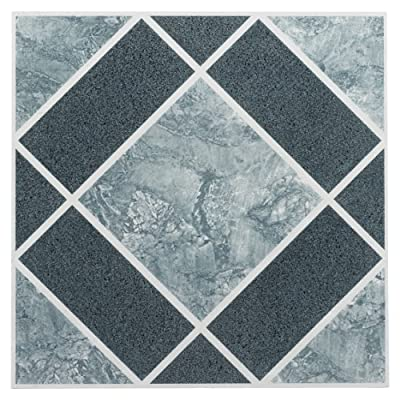 Achim Home Furnishings FTVGM30320 Nexus 12-Inch Vinyl Tile, Geo Light and Dark Blue Diamond Pattern, 20-Pack