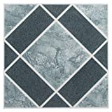 linoleum floor tiles  FTVGM30320 Nexus 12-Inch Vinyl Tile, Geo Light and Dark Blue Diamond Pattern, 20-Pack