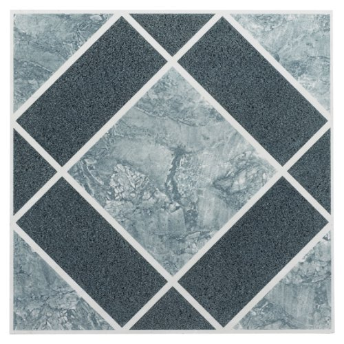 FTVGM30320 Nexus 12-Inch Vinyl Tile, Geo Light and Dark Blue Diamond Pattern, 20-Pack