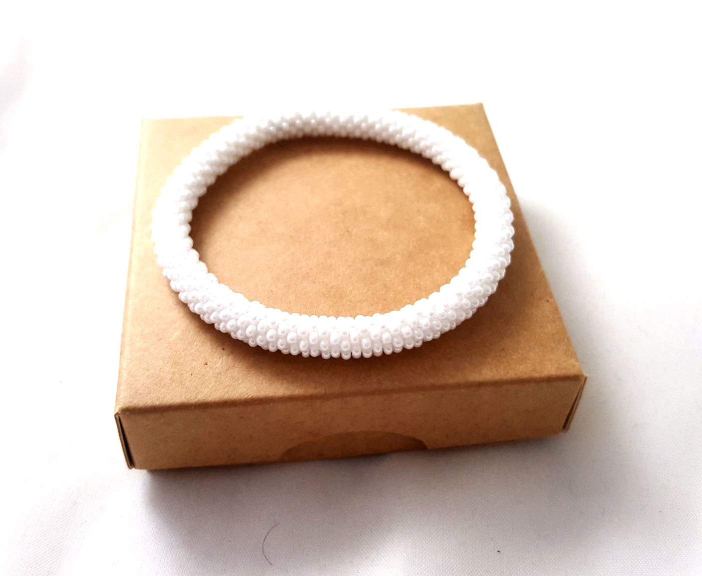 White Solid Roll On Bracelet Nepal Bangle Beaded Wristband